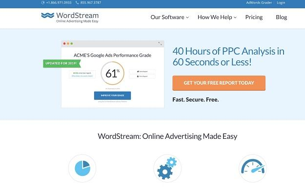 Esquema de cores do site do WordStream
